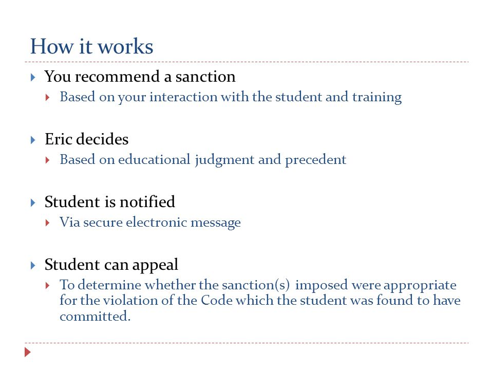 How it works  You recommend a sanction  Based on your interaction with the student and training  Eric decides  Based on educational judgment and precedent  Student is notified  Via secure electronic message  Student can appeal  To determine whether the sanction(s) imposed were appropriate for the violation of the Code which the student was found to have committed.