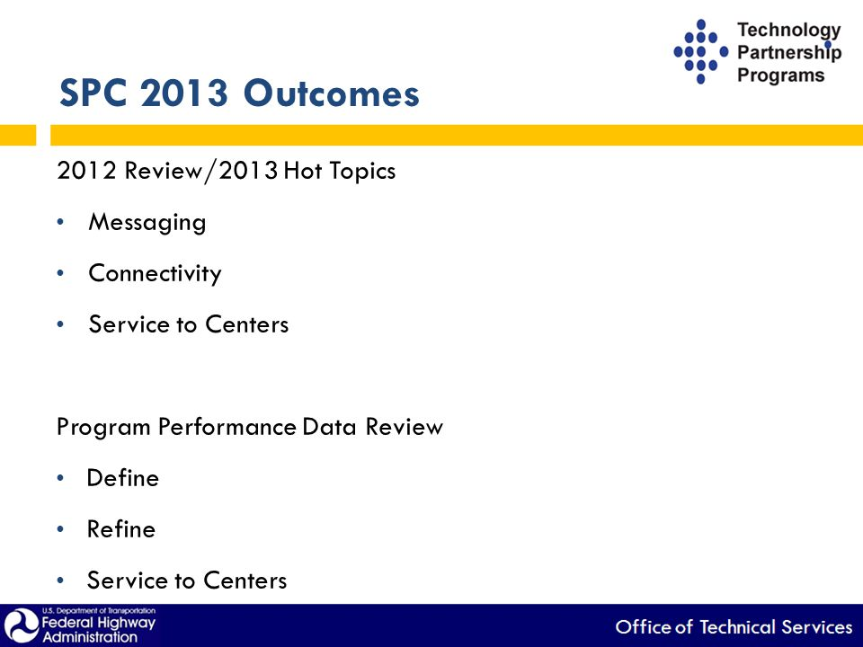 SPC 2013 Outcomes 2012 Review/2013 Hot Topics Messaging Connectivity Service to Centers Program Performance Data Review Define Refine Service to Cente