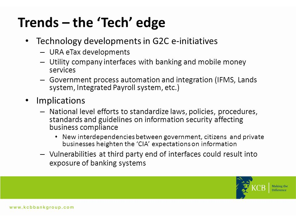 Trends – the 'Tech' edge Technology developments in G2C e-initiatives – URA eTax developments – Utility company interfaces with banking and mobile mon