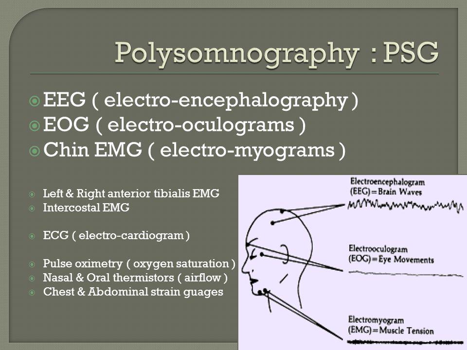  EEG ( electro-encephalography )  EOG ( electro-oculograms )  Chin EMG ( electro-myograms )  Left & Right anterior tibialis EMG  Intercostal EMG