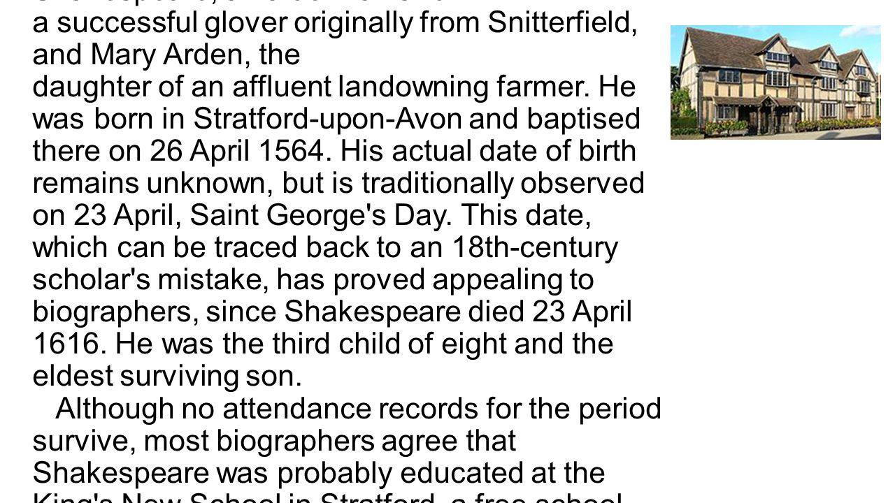 House of Shakespeare s Stratford-upon- Avon