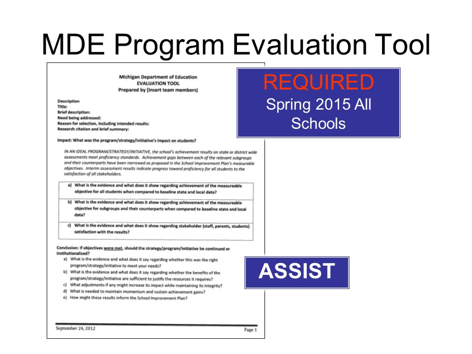 MDE Program Evaluation Tool REQUIRED Spring 2015 All Schools ASSIST