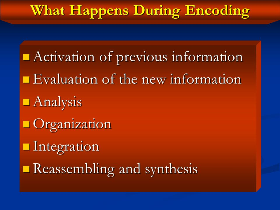 Encoding The process by which new information is attended to and processed when it is first encountered (Kandel et al., 2000) The process by which new information is attended to and processed when it is first encountered (Kandel et al., 2000) Mediated by the hippocampus & PFC Mediated by the hippocampus & PFC New info reaching the hippocampus induces activation of pathways to previous info New info reaching the hippocampus induces activation of pathways to previous info