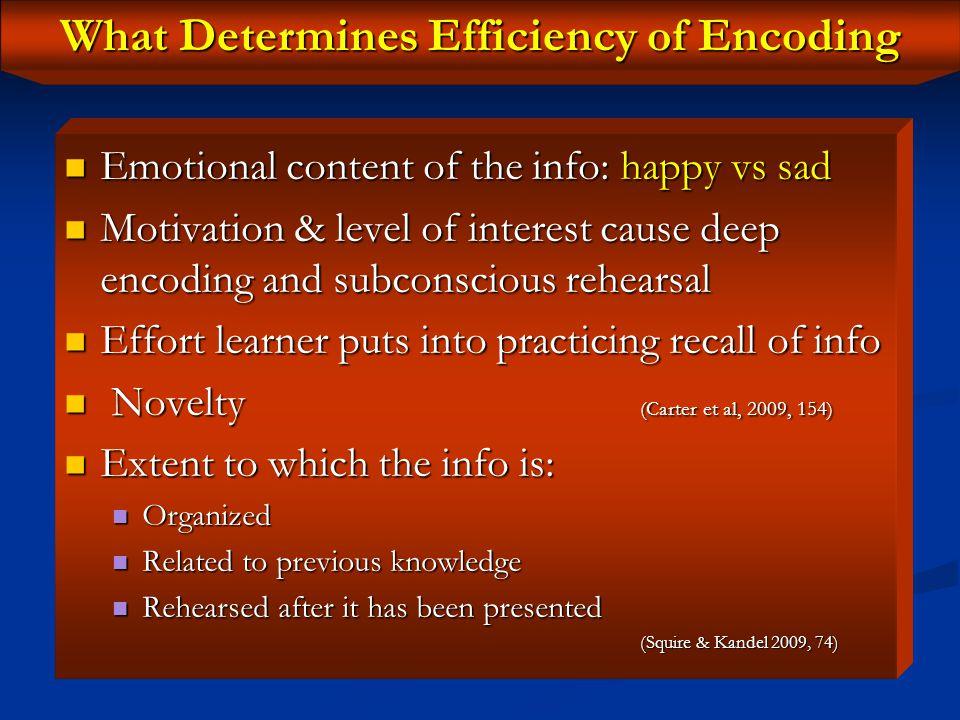 Efficiency of Encoding Encoding determines the efficiency of retrieval.