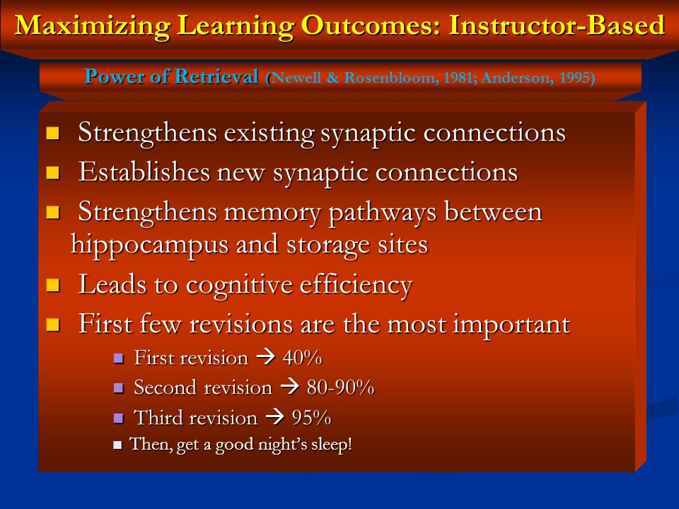 Maximizing Learning Outcomes: Instructor-Based The familiarity effect The familiarity effect Provide lesson previews a week or two prior to in-depth presentation of lessons Provide lesson previews a week or two prior to in-depth presentation of lessons Implications for: Implications for: Arabic Instruction Arabic Instruction English Instruction to nonnative speakers English Instruction to nonnative speakers Exercise Exercise