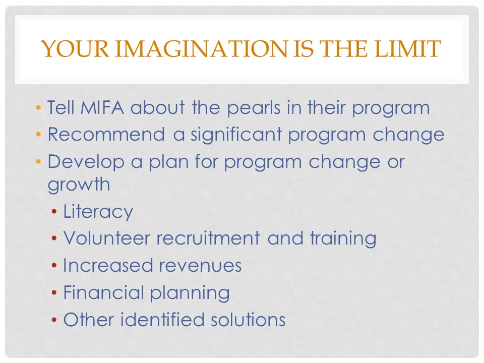YOUR IMAGINATION IS THE LIMIT Tell MIFA about the pearls in their program Recommend a significant program change Develop a plan for program change or growth Literacy Volunteer recruitment and training Increased revenues Financial planning Other identified solutions
