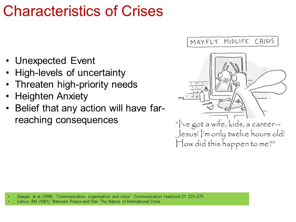 Characteristics of Crises Seeger, et al (1998). Communication, organization, and crisis .