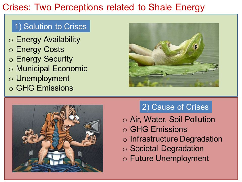 Crises: Two Perceptions related to Shale Energy o Energy Availability o Energy Costs o Energy Security o Municipal Economic o Unemployment o GHG Emissions 1) Solution to Crises 2) Cause of Crises o Air, Water, Soil Pollution o GHG Emissions o Infrastructure Degradation o Societal Degradation o Future Unemployment