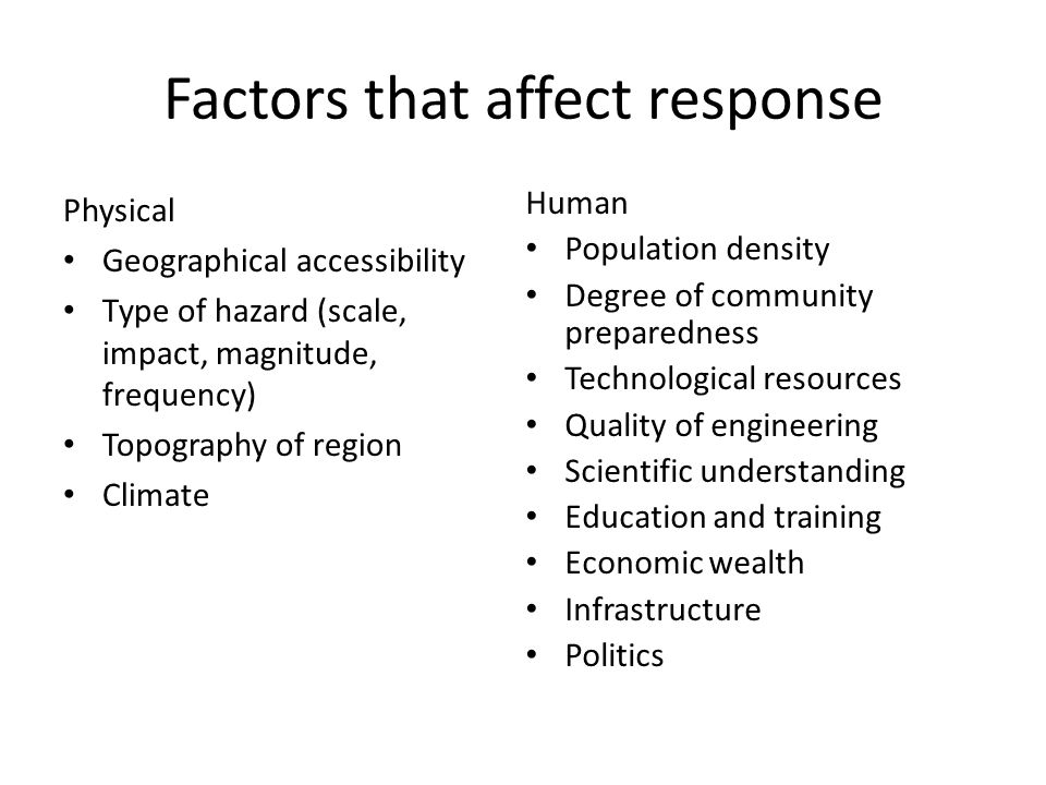 Factors that affect response Physical Geographical accessibility Type of hazard (scale, impact, magnitude, frequency) Topography of region Climate Human Population density Degree of community preparedness Technological resources Quality of engineering Scientific understanding Education and training Economic wealth Infrastructure Politics