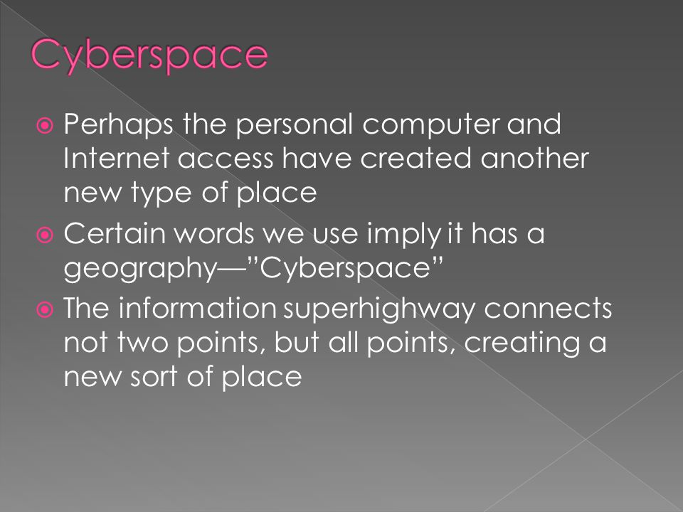 """ Perhaps the personal computer and Internet access have created another new type of place  Certain words we use imply it has a geography—""""Cyberspace"""