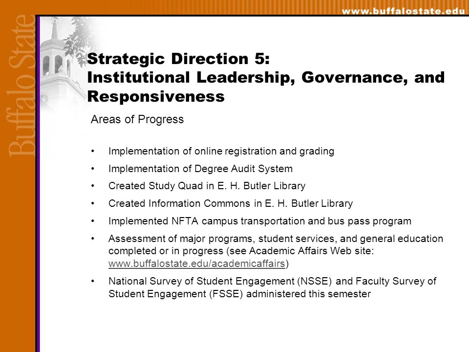 Strategic Direction 5: Institutional Leadership, Governance, and Responsiveness Areas of Progress Implementation of online registration and grading Implementation of Degree Audit System Created Study Quad in E.