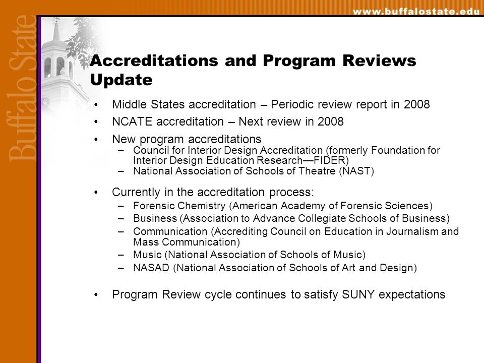 Accreditations and Program Reviews Update Middle States accreditation – Periodic review report in 2008 NCATE accreditation – Next review in 2008 New program accreditations –Council for Interior Design Accreditation (formerly Foundation for Interior Design Education Research—FIDER) –National Association of Schools of Theatre (NAST) Currently in the accreditation process: –Forensic Chemistry (American Academy of Forensic Sciences) –Business (Association to Advance Collegiate Schools of Business) –Communication (Accrediting Council on Education in Journalism and Mass Communication) –Music (National Association of Schools of Music) –NASAD (National Association of Schools of Art and Design) Program Review cycle continues to satisfy SUNY expectations