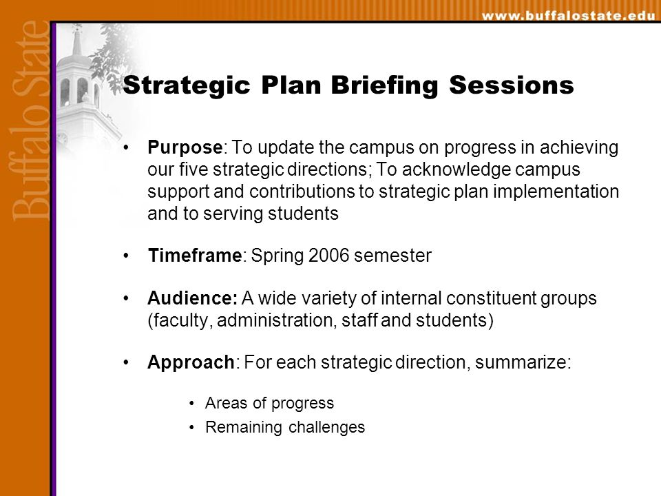 Strategic Plan Briefing Sessions Purpose: To update the campus on progress in achieving our five strategic directions; To acknowledge campus support and contributions to strategic plan implementation and to serving students Timeframe: Spring 2006 semester Audience: A wide variety of internal constituent groups (faculty, administration, staff and students) Approach: For each strategic direction, summarize: Areas of progress Remaining challenges