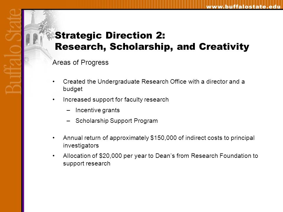 Areas of Progress Created the Undergraduate Research Office with a director and a budget Increased support for faculty research –Incentive grants –Scholarship Support Program Annual return of approximately $150,000 of indirect costs to principal investigators Allocation of $20,000 per year to Dean's from Research Foundation to support research Strategic Direction 2: Research, Scholarship, and Creativity