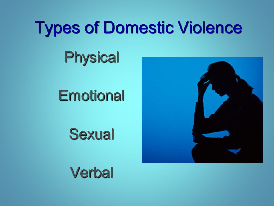 Types of Domestic Violence PhysicalEmotionalSexualVerbal