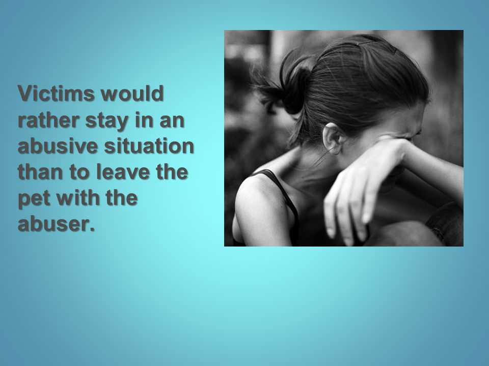 Victims would rather stay in an abusive situation than to leave the pet with the abuser.