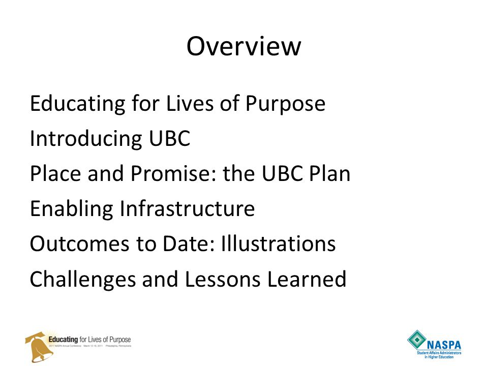 Overview Educating for Lives of Purpose Introducing UBC Place and Promise: the UBC Plan Enabling Infrastructure Outcomes to Date: Illustrations Challenges and Lessons Learned