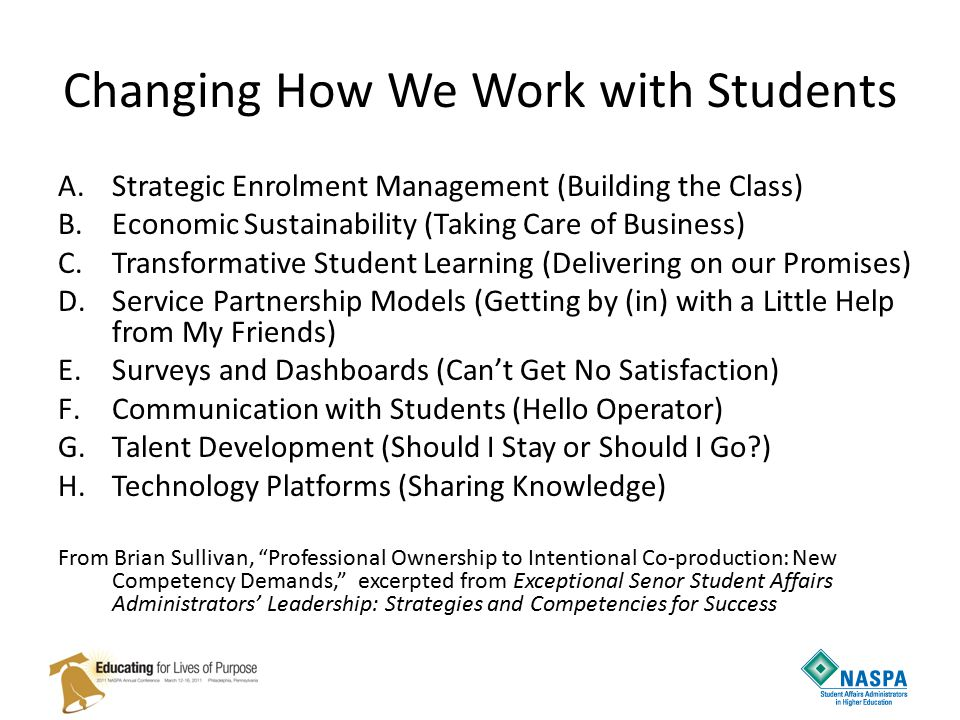 Changing How We Work with Students A.Strategic Enrolment Management (Building the Class) B.Economic Sustainability (Taking Care of Business) C.Transformative Student Learning (Delivering on our Promises) D.Service Partnership Models (Getting by (in) with a Little Help from My Friends) E.Surveys and Dashboards (Can't Get No Satisfaction) F.Communication with Students (Hello Operator) G.Talent Development (Should I Stay or Should I Go ) H.Technology Platforms (Sharing Knowledge) From Brian Sullivan, Professional Ownership to Intentional Co-production: New Competency Demands, excerpted from Exceptional Senor Student Affairs Administrators' Leadership: Strategies and Competencies for Success