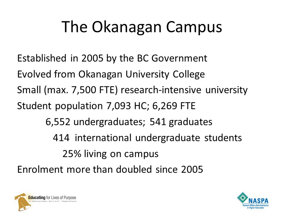 The Okanagan Campus Established in 2005 by the BC Government Evolved from Okanagan University College Small (max. 7,500 FTE) research-intensive univer
