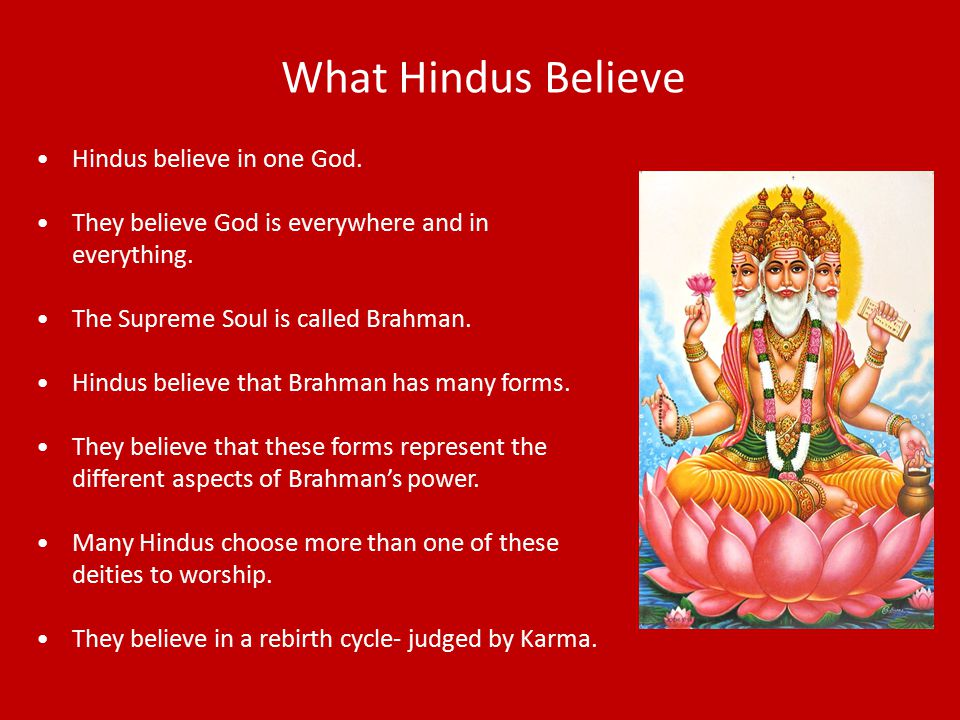 Hindus believe in one God.They believe God is everywhere and in everything.