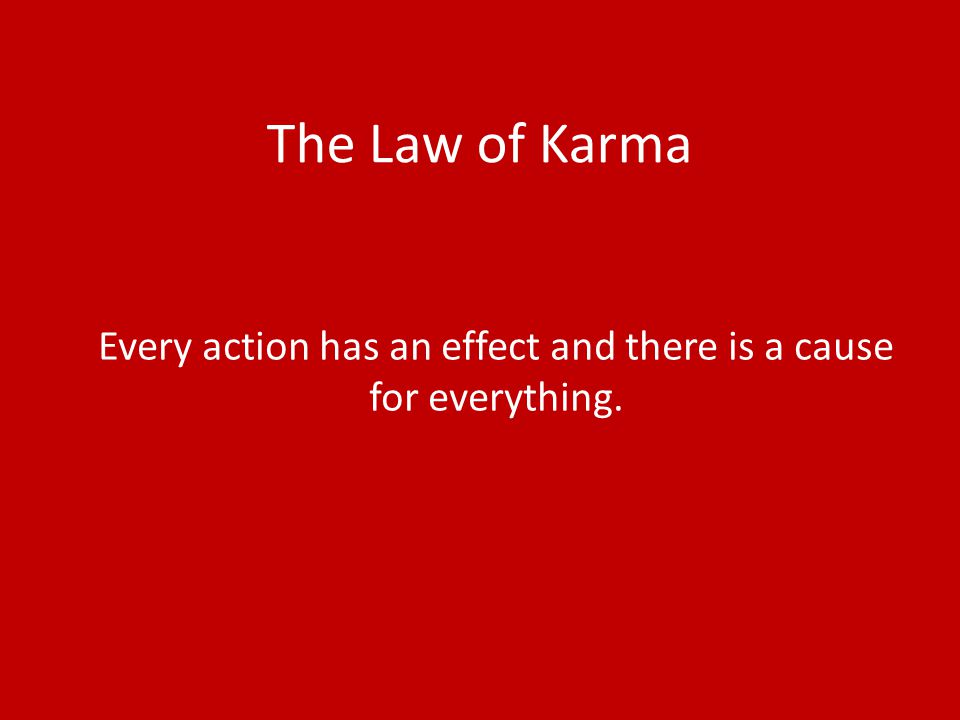 The Law of Karma Every action has an effect and there is a cause for everything.