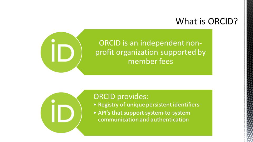 ORCID is an independent non- profit organization supported by member fees ORCID provides: Registry of unique persistent identifiers API's that support system-to-system communication and authentication