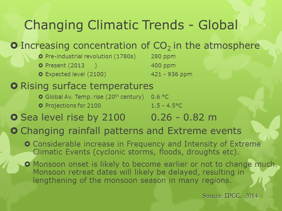 Projected changes in crop yield at global level due to climate change over 21 st century (IPCC, 2014)