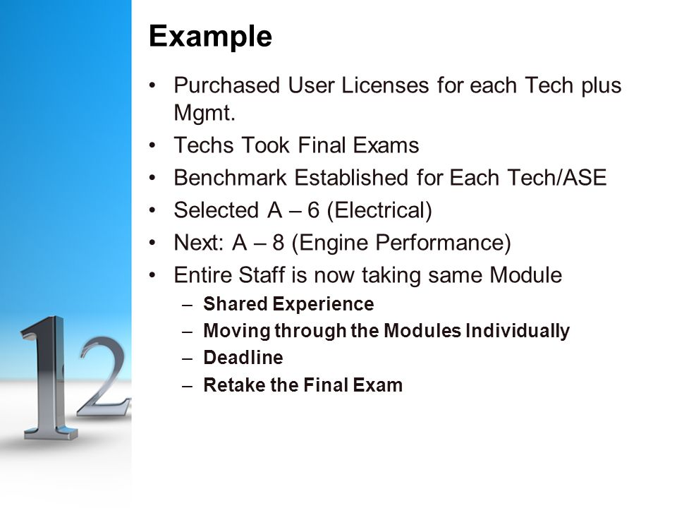 Example Purchased User Licenses for each Tech plus Mgmt.
