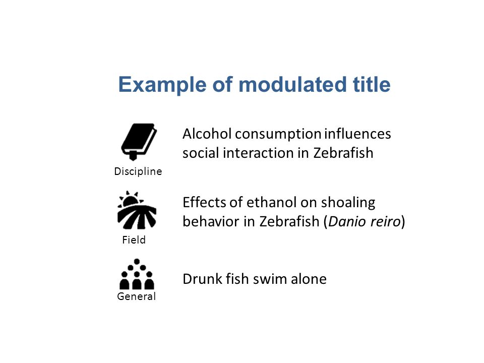 Effects of ethanol on shoaling behavior in Zebrafish (Danio reiro) Example of modulated title Drunk fish swim alone Alcohol consumption influences social interaction in Zebrafish DisciplineField General