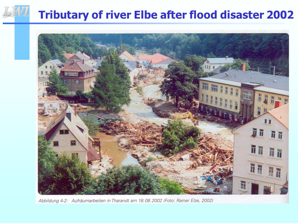 Tributary of river Elbe after flood disaster 2002