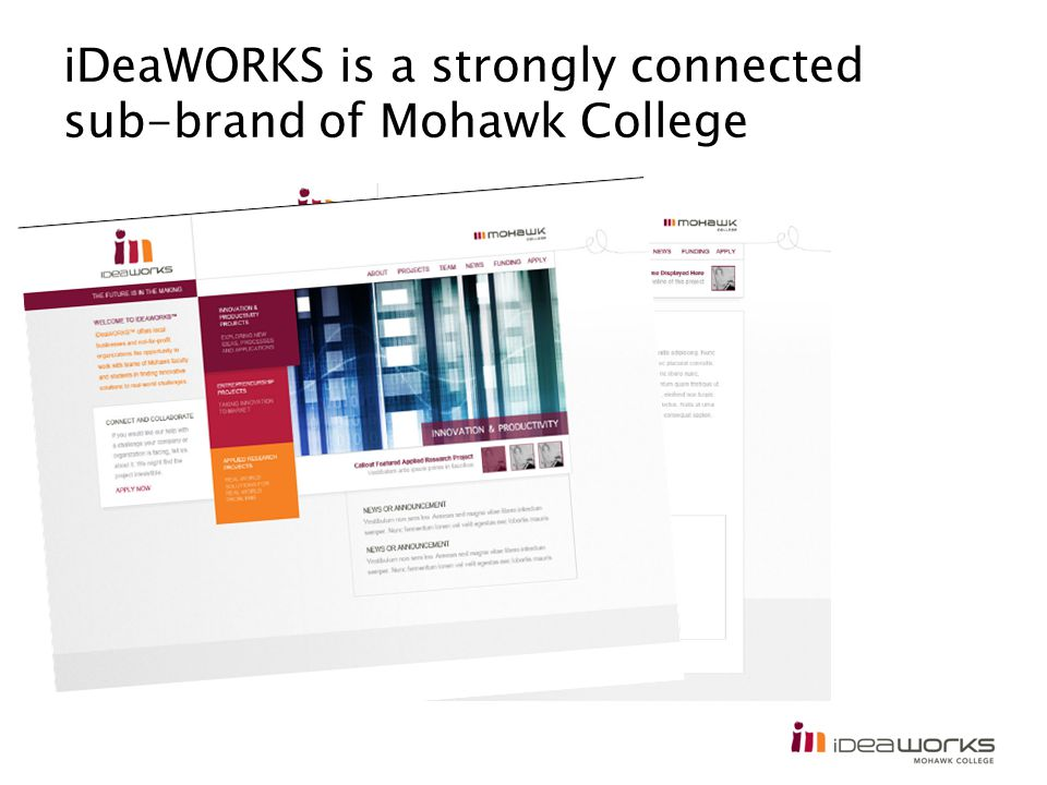iDeaWORKS is a strongly connected sub-brand of Mohawk College