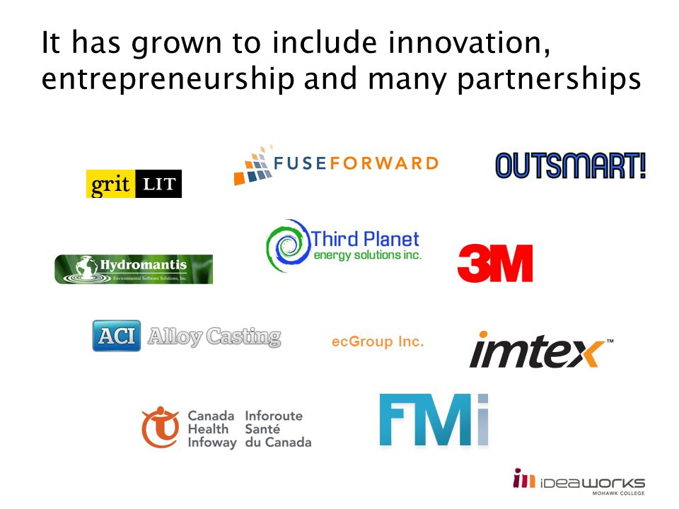 It has grown to include innovation, entrepreneurship and many partnerships ecGroup Inc.