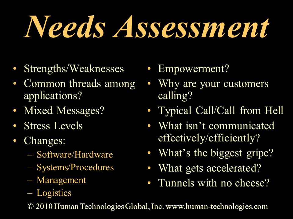Needs Assessment Strengths/Weaknesses Common threads among applications? Mixed Messages? Stress Levels Changes: –Software/Hardware –Systems/Procedures