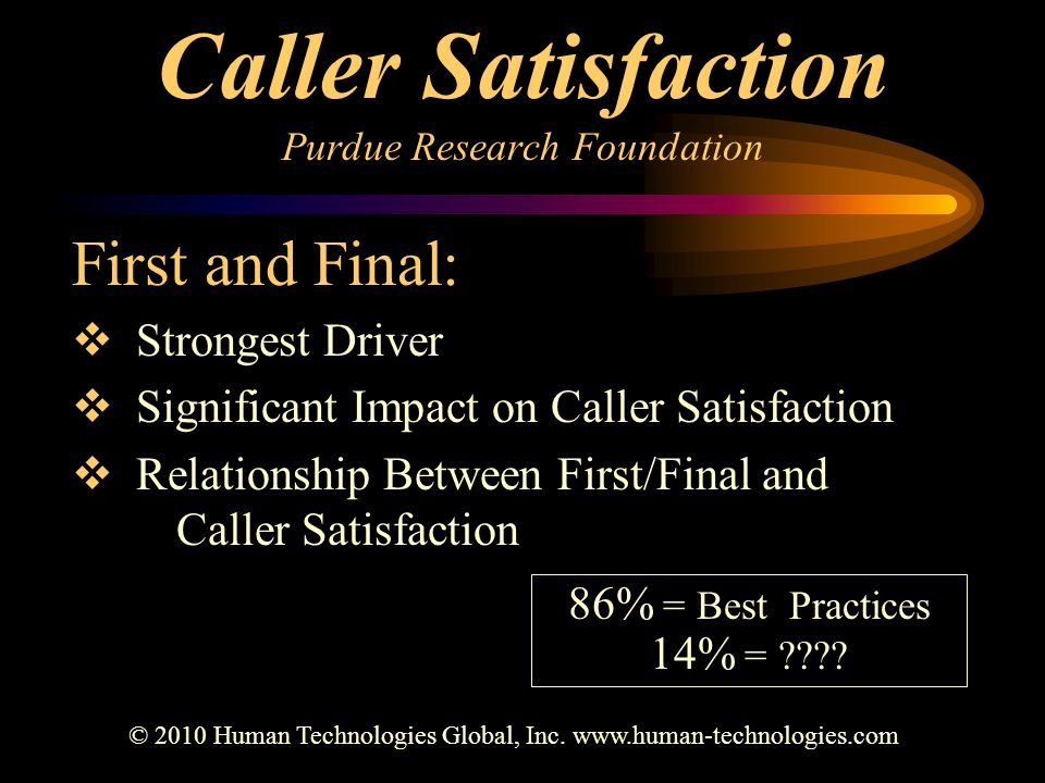 Caller Satisfaction Purdue Research Foundation First and Final:  Strongest Driver  Significant Impact on Caller Satisfaction  Relationship Between First/Final and Caller Satisfaction © 2010 Human Technologies Global, Inc.
