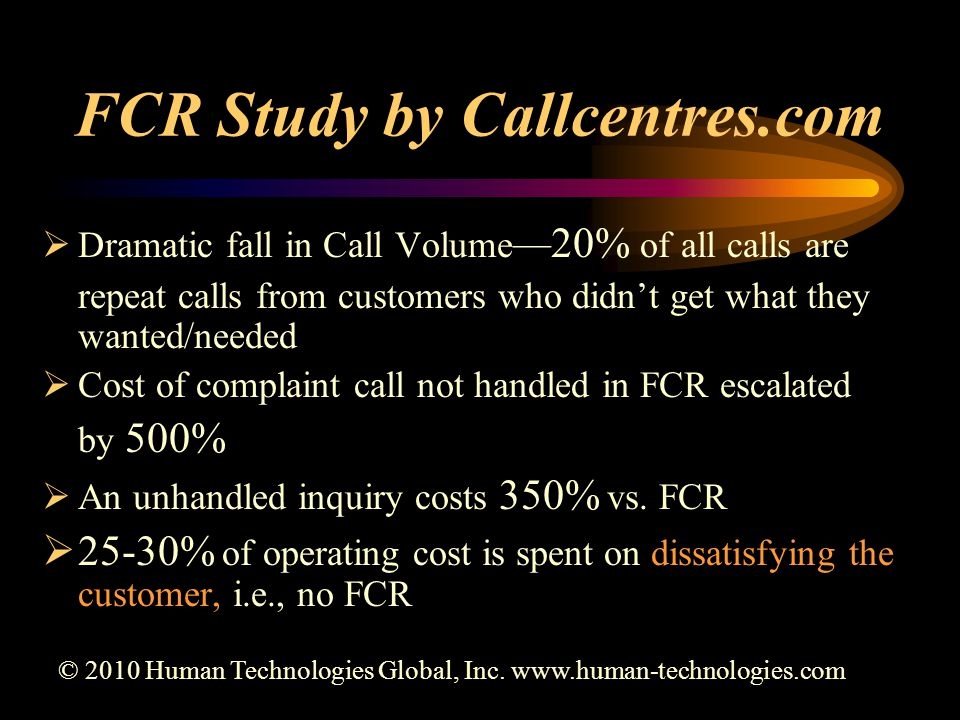 FCR Study by Callcentres.com  Dramatic fall in Call Volume —20% of all calls are repeat calls from customers who didn't get what they wanted/needed  Cost of complaint call not handled in FCR escalated by 500%  An unhandled inquiry costs 350% vs.