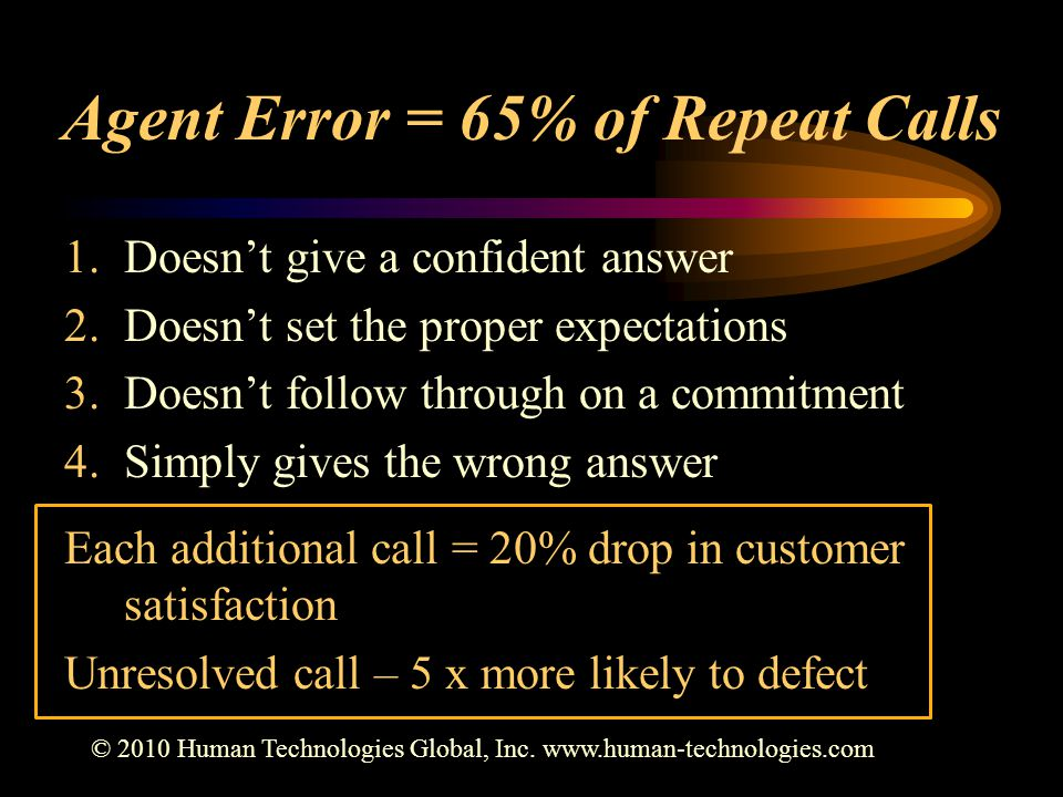 Agent Error = 65% of Repeat Calls 1.Doesn't give a confident answer 2.Doesn't set the proper expectations 3.Doesn't follow through on a commitment 4.Simply gives the wrong answer Each additional call = 20% drop in customer satisfaction Unresolved call – 5 x more likely to defect © 2010 Human Technologies Global, Inc.