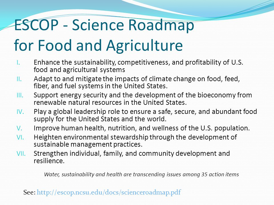 ESCOP - Science Roadmap for Food and Agriculture I.