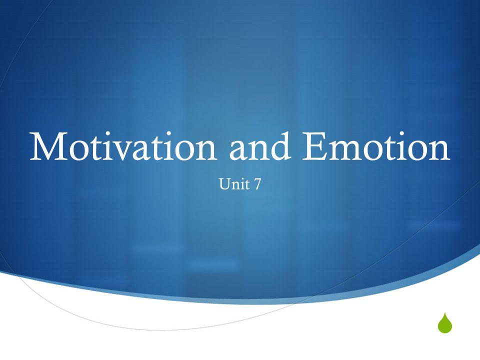  Motivation and Emotion Unit 7