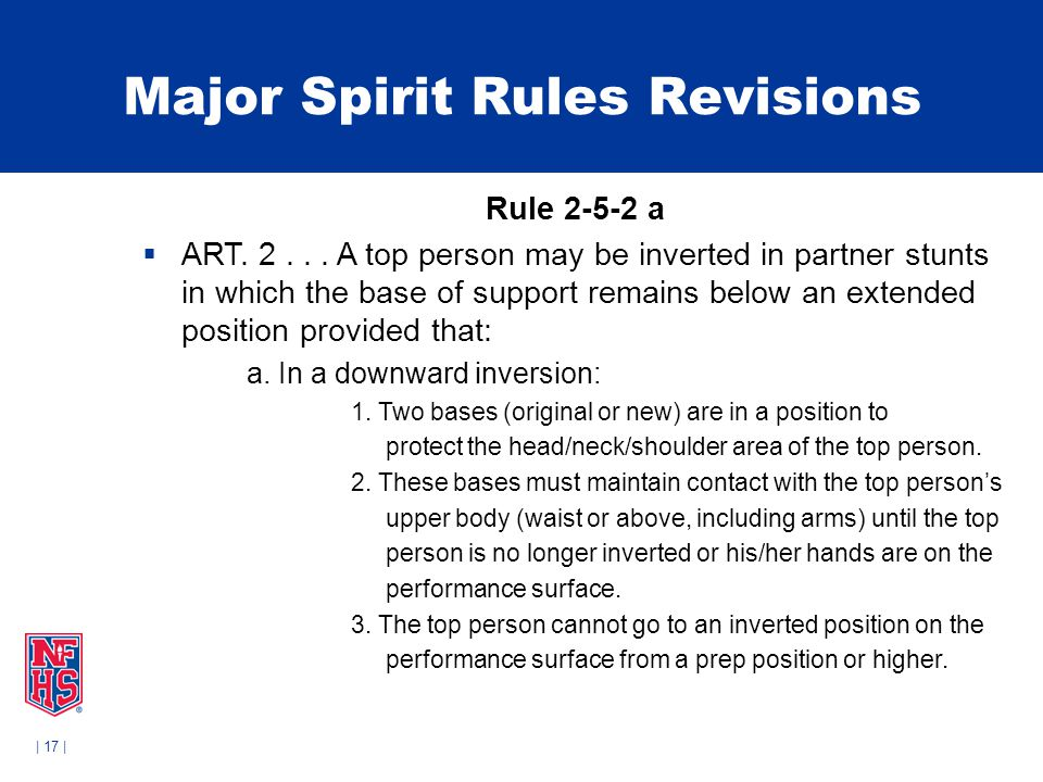| 17 | Major Spirit Rules Revisions Rule 2-5-2 a  ART.