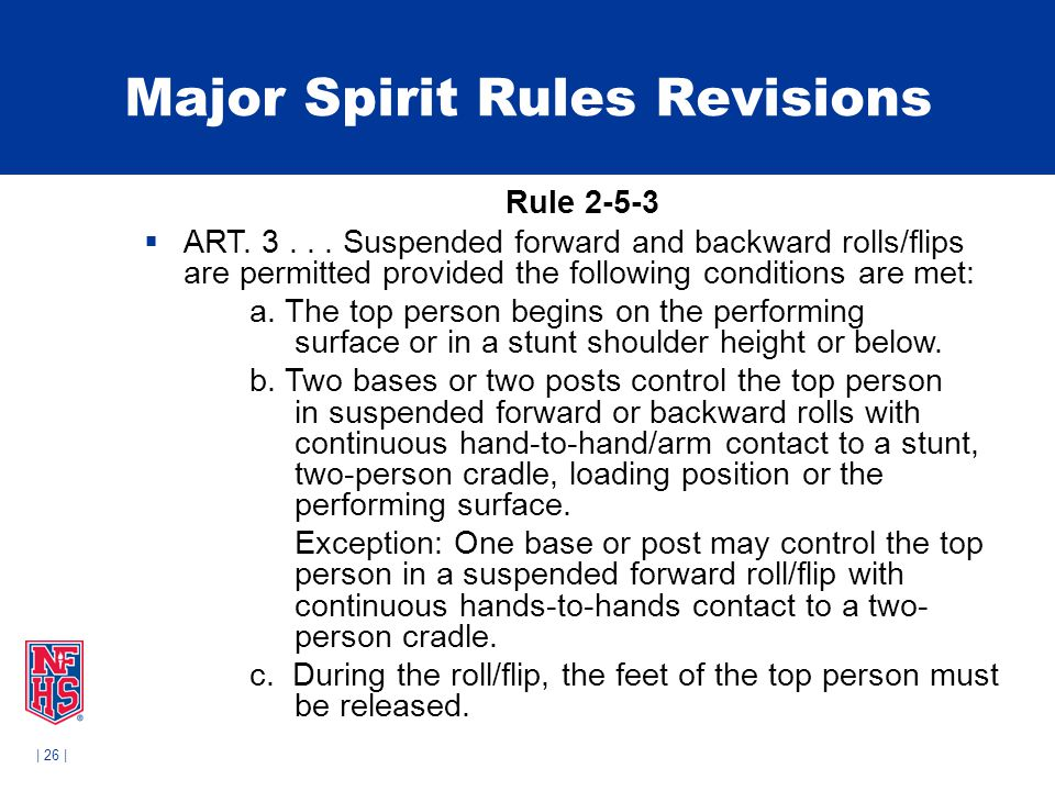 | 26 | Major Spirit Rules Revisions Rule 2-5-3  ART.