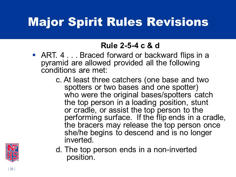 | 32 | Major Spirit Rules Revisions Rule 2-5-4 c & d  ART.