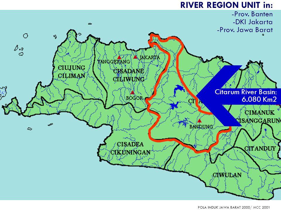 2 RIVER REGION UNIT in: -Prov. Banten -DKI Jakarta -Prov. Jawa Barat POLA INDUK JAWA BARAT 2000/ MCC 2001 Citarum River Basin: 6.080 Km2