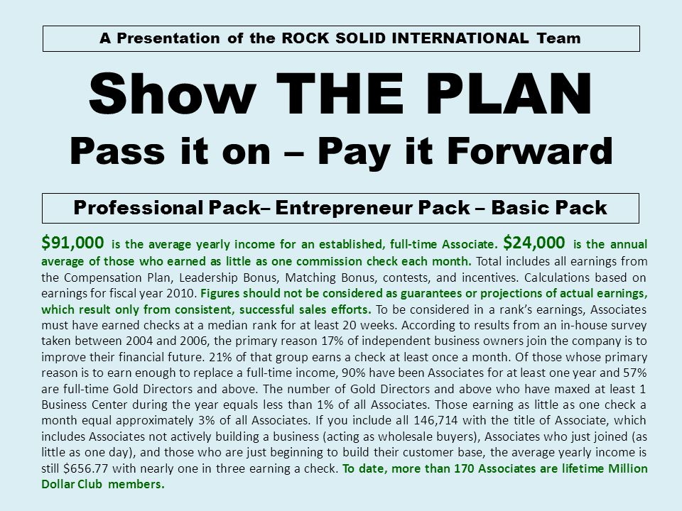 A Presentation of the ROCK SOLID INTERNATIONAL Team Show THE PLAN Pass it on – Pay it Forward Professional Pack– Entrepreneur Pack – Basic Pack $91,00