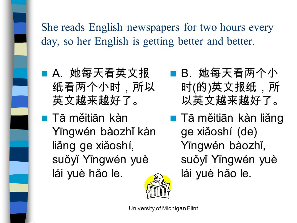 She reads English newspapers for two hours every day, so her English is getting better and better. A. 她每天看英文报 纸看两个小时,所以 英文越来越好了。 Tā měitiān kàn Yīngwé