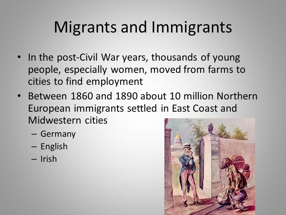 Migrants and Immigrants (cont.) In the late 19th century, new immigrants from southern and eastern Europe arrived – Italians – Slavs – Greeks – Jews – Armenians (from the Middle East) By 1890, the foreign-born and their children accounted for 4/5's of the population of Great New York