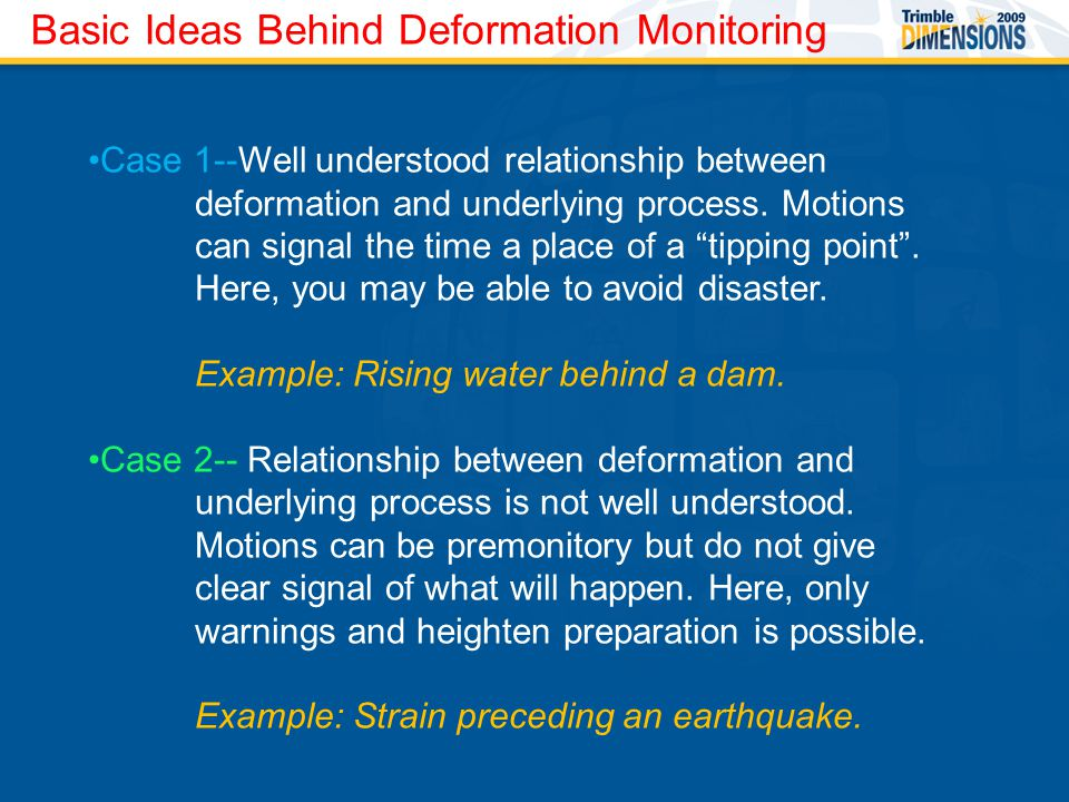 Basic Ideas Behind Deformation Monitoring Case 1--Well understood relationship between deformation and underlying process.