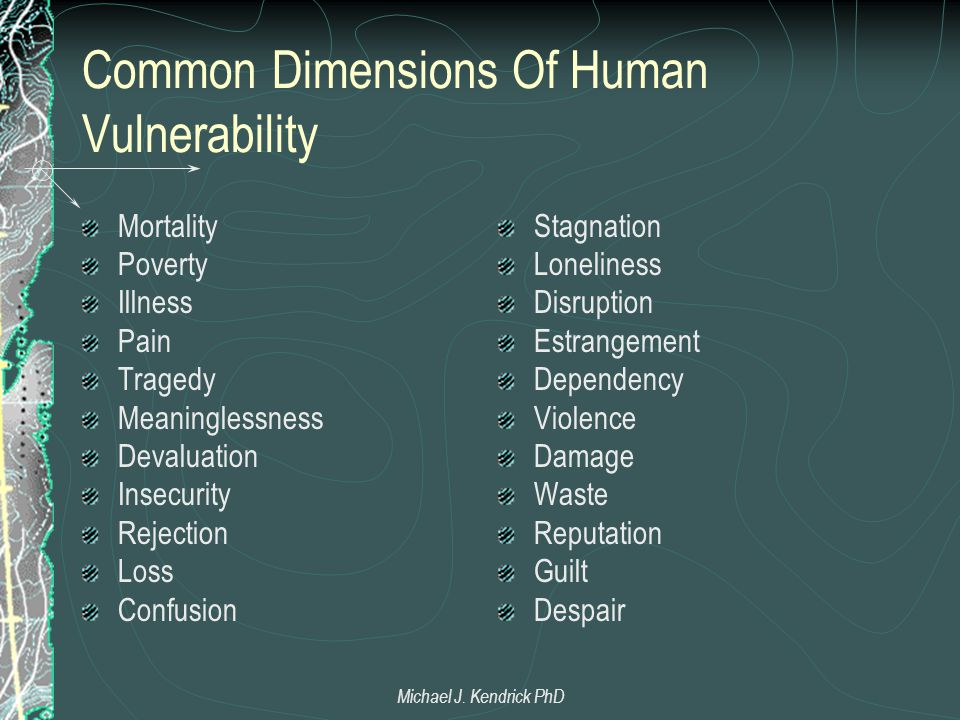 Common Dimensions Of Human Vulnerability Mortality Poverty Illness Pain Tragedy Meaninglessness Devaluation Insecurity Rejection Loss Confusion Stagnation Loneliness Disruption Estrangement Dependency Violence Damage Waste Reputation Guilt Despair Michael J.