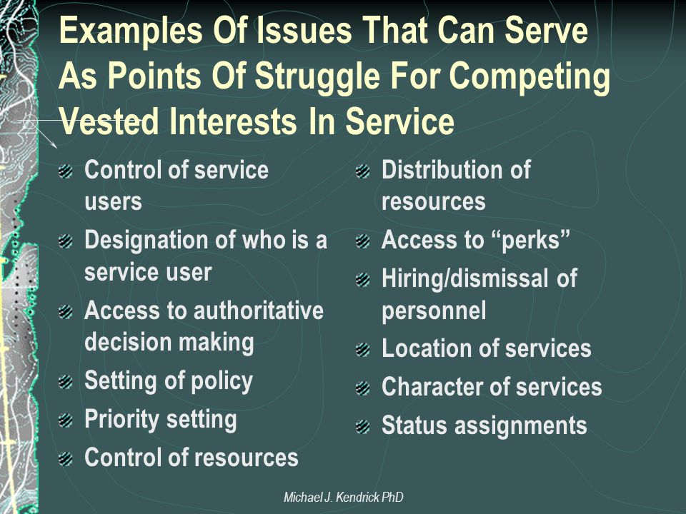Examples Of Issues That Can Serve As Points Of Struggle For Competing Vested Interests In Service Control of service users Designation of who is a ser