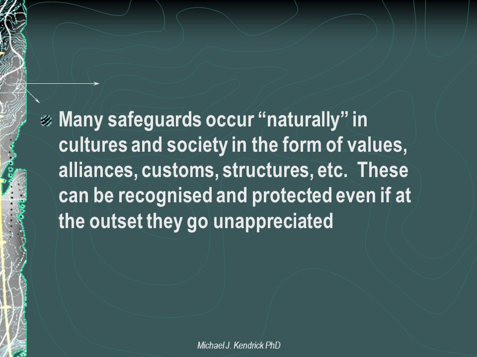 "Many safeguards occur ""naturally"" in cultures and society in the form of values, alliances, customs, structures, etc. These can be recognised and prot"