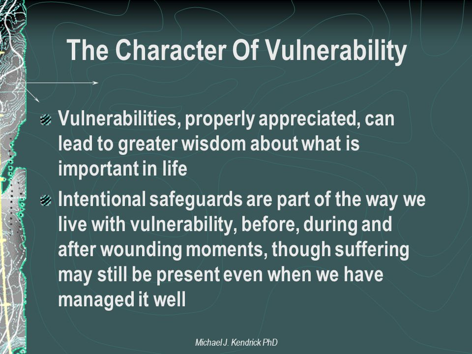 The Character Of Vulnerability Vulnerabilities, properly appreciated, can lead to greater wisdom about what is important in life Intentional safeguard